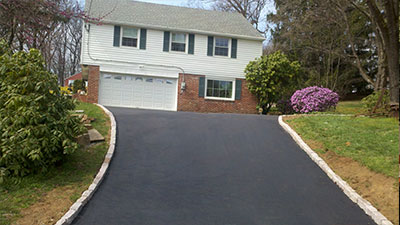 Freshly Sealcoated Residential Driveway